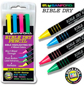 Dry Bible Highlighters green, red, blue, yellow